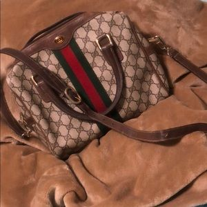 Gucci Web GG Canvas Boston Bag Crossbody Satchel